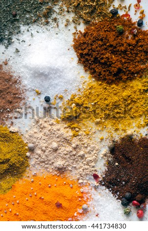 A macro spices composition of different colors and textures