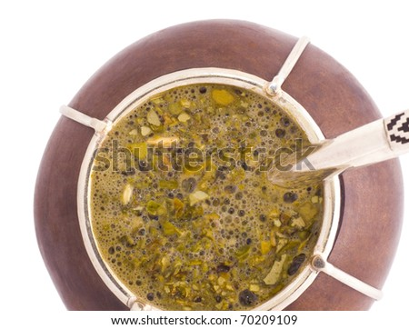 A macro view of an Argentinian mate. - stock photo