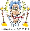 A mad scientist is excited with electricity. - stock vector