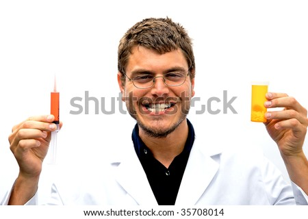 A mad scientist with a crazy look on his face - stock photo