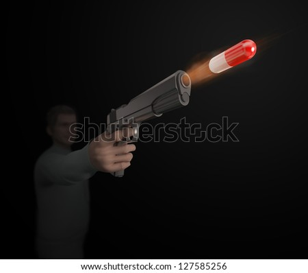 A 'magic bullet' medicine concept. Man shooting a capsule with medicine out of a hand gun.