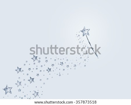 A magic wand made of water leaving a trail of stars. - stock photo