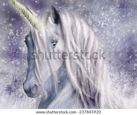A magical unicorn with snowy background. - stock photo