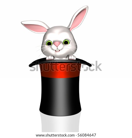 A magician's rabbit coming out of a hat. - stock photo