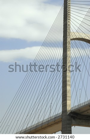 A magnificent suspension bridge's support tower and cables up close