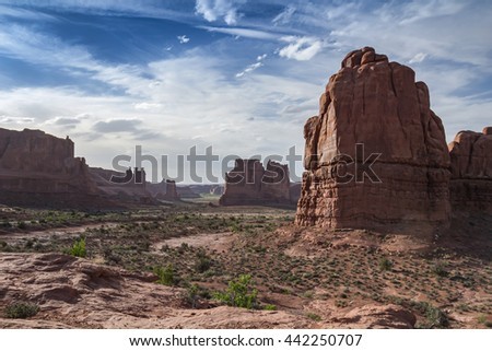 A magnificent view of Red Rocks under a blue sky