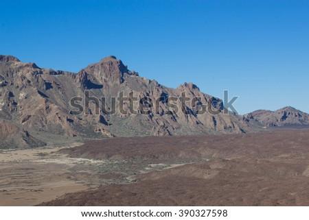 A magnificent volcanic landscape. El Teide National Park. Tenerife. Canary islands. Spanish - stock photo