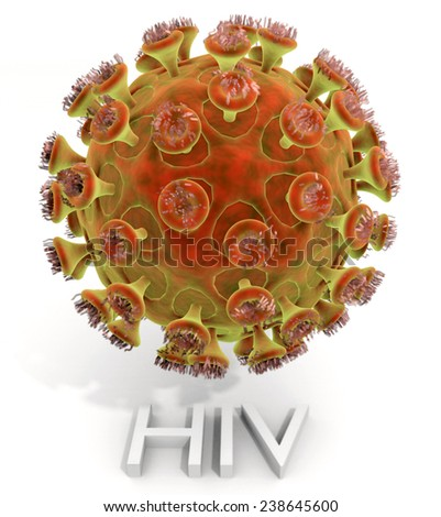 A magnified illustration of the deadly Human Immunodeficiency Virus (HIV/AIDS) virus with text name. - stock photo