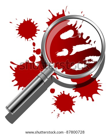 A magnifying glass being used to inspect the bloody evidence of a crime scene. Raster. - stock photo