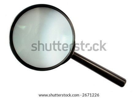A magnifying glass isolated on a white background. - stock photo