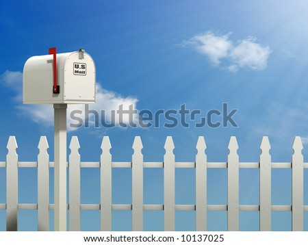A Mail Box against a Blue Sky and white picket fence background - stock photo