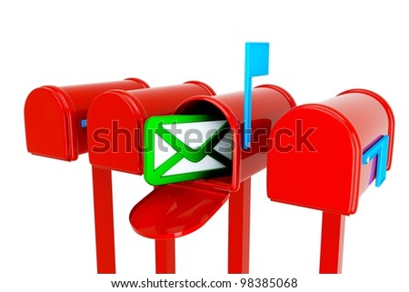 a mailboxes with envelop icon inside isolated on white - stock photo