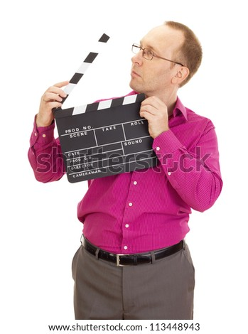 A male business person with a clapperboard