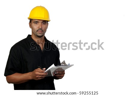 A male construction worker a job site. - stock photo