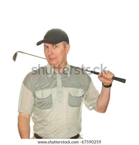 A male golf player isolated on white background. - stock photo