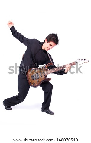 A male guitarist in action in white background