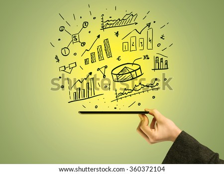 A male hand holding a mobile phone from profile view with graphs, business pie sharts and statistics above the device illustration concept - stock photo