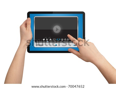 A male hand holding a touchpad media player state of the art - stock photo