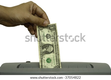A male hand is feeding a one dollar bill into a shredder. Saved including clipping path. - stock photo
