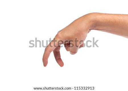 A male hand is showing the walking fingers isolated on a white background
