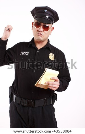 A male police officer about to write a citation.