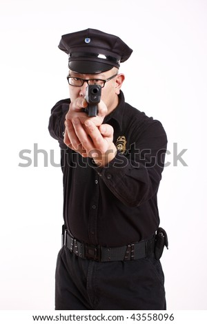 A male police officer aiming a pistol.
