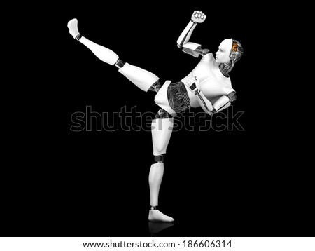 A male robot doing a karate kick. Black background.