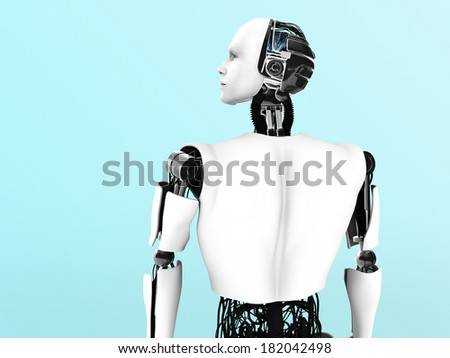 A male robot gazing into the future.