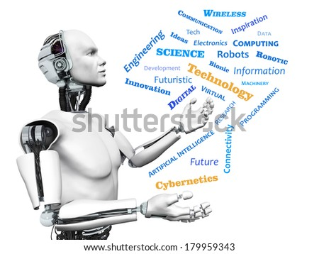 A male robot looking at a technology theme word cloud. White background.