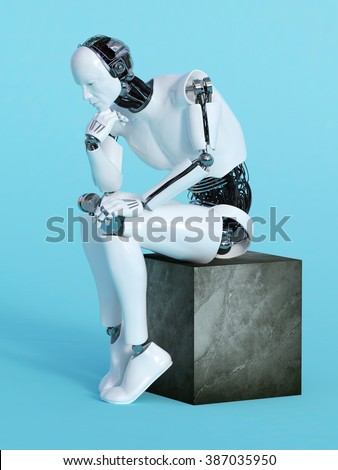 A male robot sitting and thinking, image 1. Blue background. - stock photo