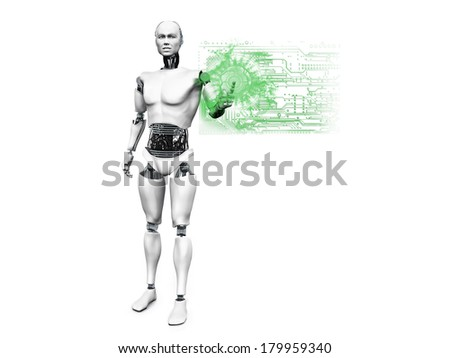 A male robot standing and pushing a technology button with his finger. White background. - stock photo
