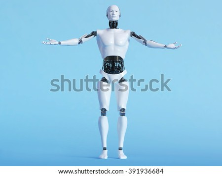 A male robot with his arms outstretched in a welcoming pose, image 1. Blue background.