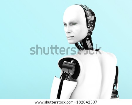 A male robot with his back against the camera, his head is turned and looking at you.