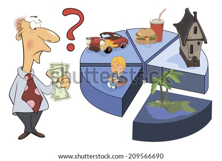 A man and the life expense chart caricature  - stock photo