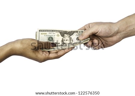 A man and woman's hands exchanging money which could be used for anything from business to shopping