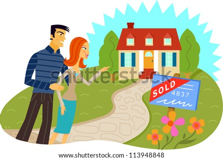 A man and woman standing in front of a house with a sold sign
