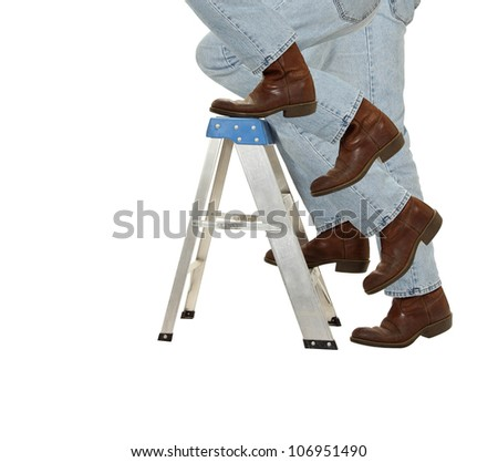 A man ascends a ladder isolated on white - stock photo