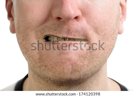 a man being silenced with a zip on the lips isolated  - stock photo