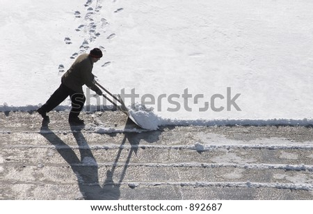 A man clearing a road