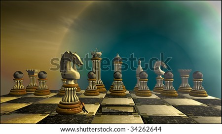 A man comes out of the center of the chess board to cheat, by pushing the knight to a new position. In the background all the game pieces look on with red eyes. The background a human eye - stock photo