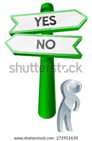 A man considering his options by looking up at a sign reading yes or no - stock photo