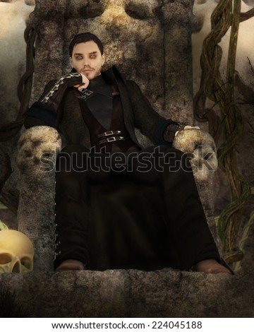 A man dressed in black sits on a stone throne with skulls around. - stock photo
