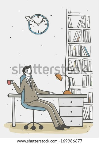 A man drinks and sits at a desk in an office with books and a clock.
