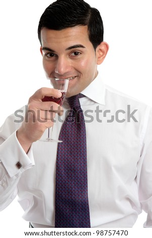 A man drinks wine from a wine glass.  White background. - stock photo