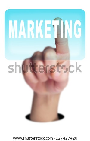 a man finger clicking on a button with the word marketing written in it on a transparent screen - stock photo