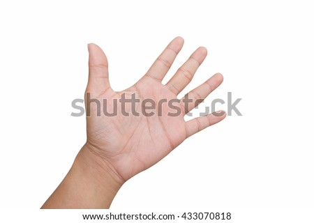 a man hand, hi five, greet, stop, hand up, the fifth, slap, count number sign, show empty sign, isolated on white background