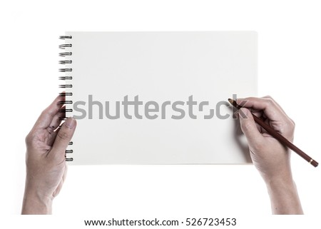 A man hand hold(write) a blank(empty, vacant) book with ring isolated white.