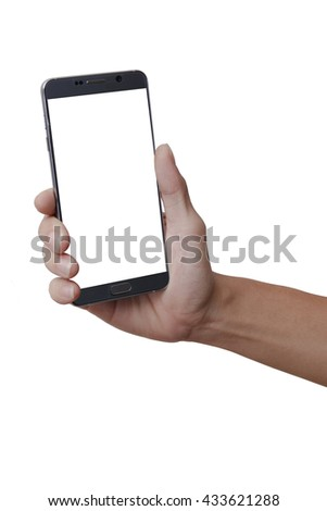 A man hold mobile phone on isolate white background. - stock photo