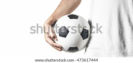 a man holding a ball isolated on white background