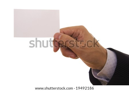 A man holding a blank business card - stock photo